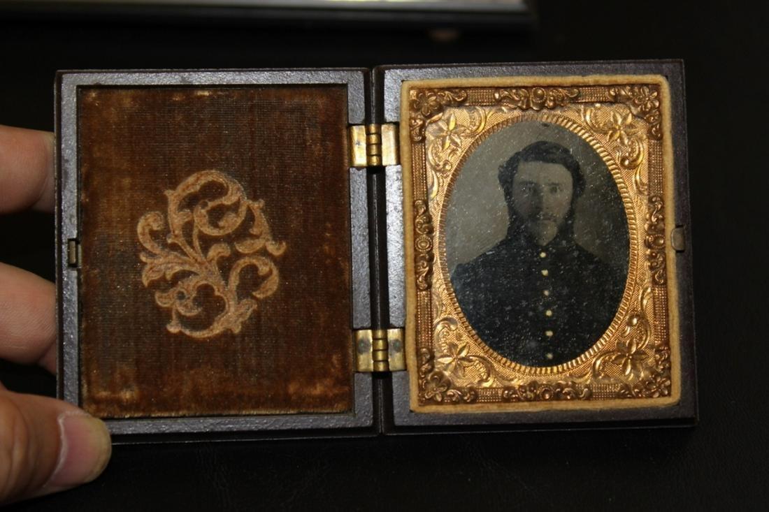 A Tin Type Civil War Photograph of a Soldier