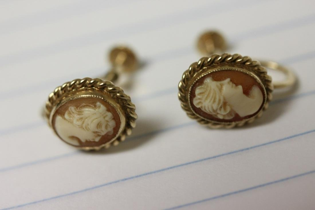 A Pair of 10 Karat Gold and Cameo Earrings