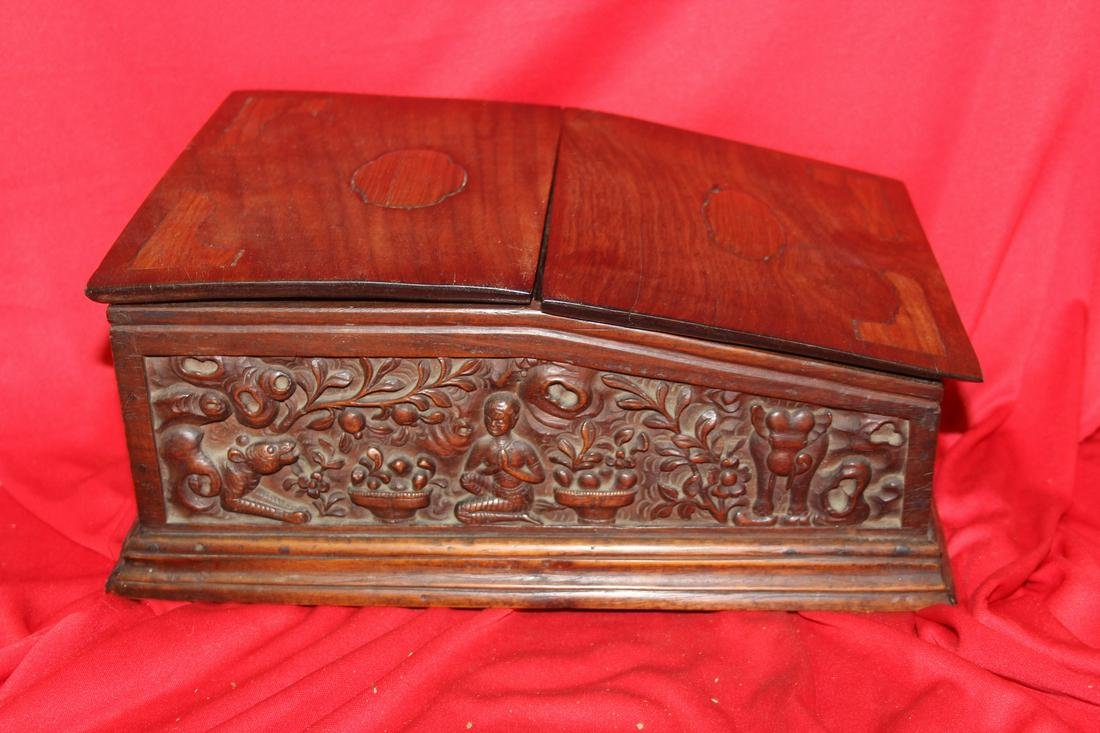 A Well Carved Table Desk Exotic Wood