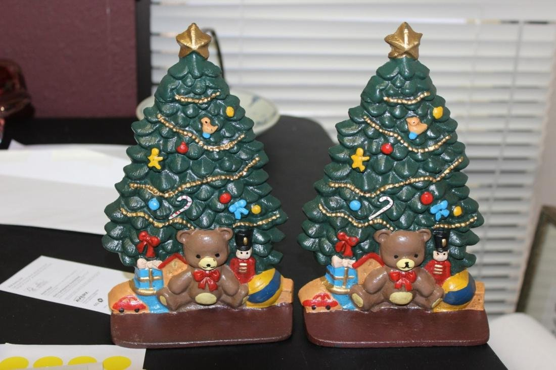 A Set of Two Cast Iron Christmas Tree Book Ends