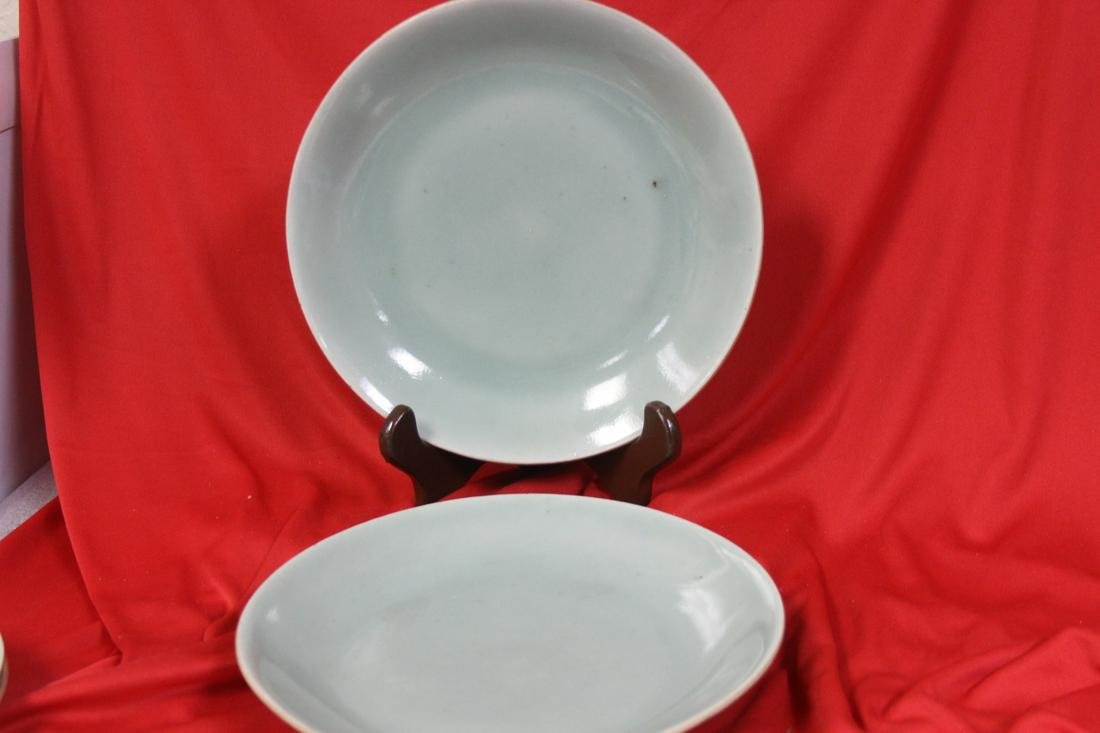 Set of Two Chinese Celadon Plates