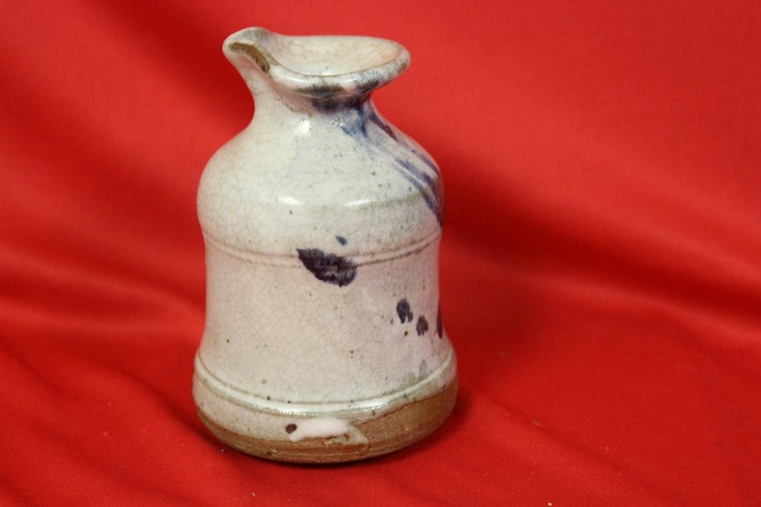 A Studio Blue and White Pottery Bottle