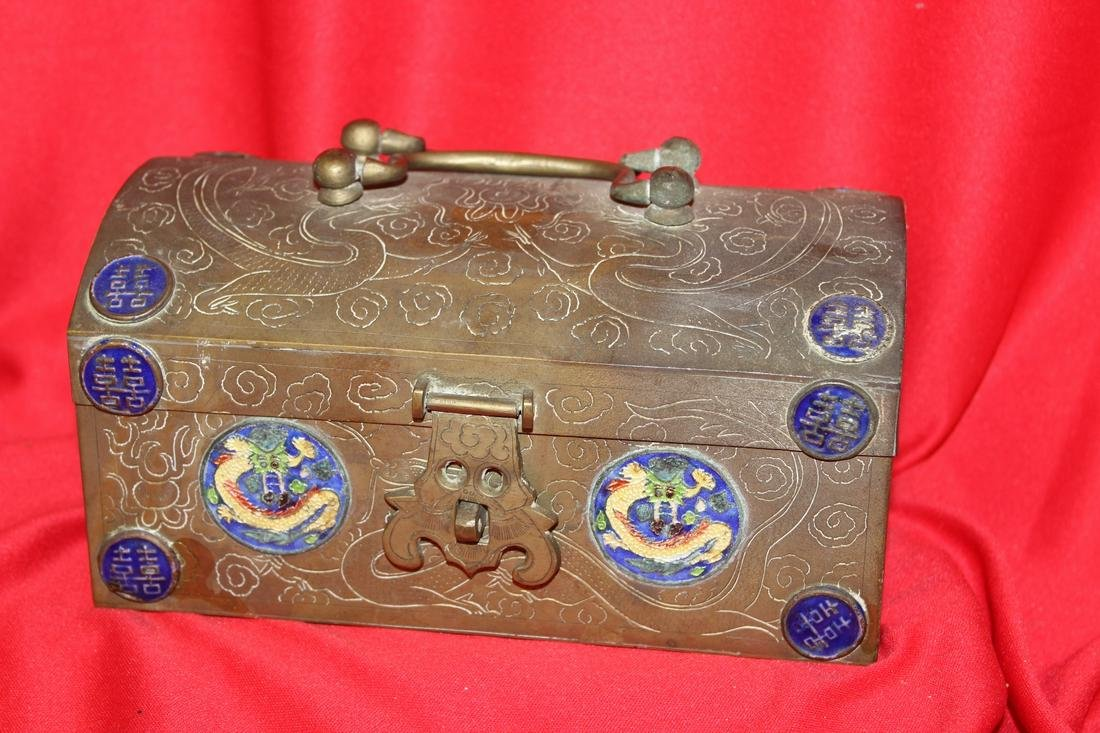 A Chinese Metal and Enamel Box
