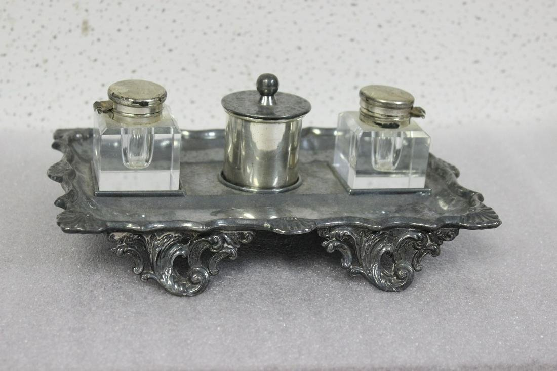 A Metal Desk Inkwell Set