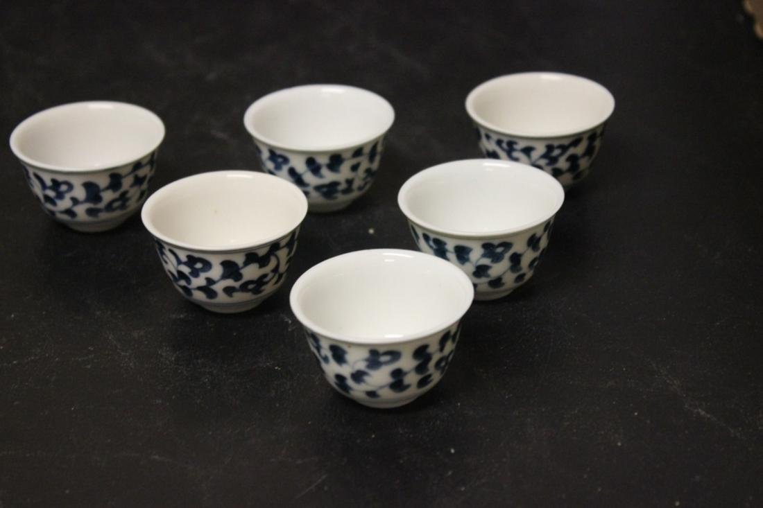 Set of 6 Blue and White Saki Cups