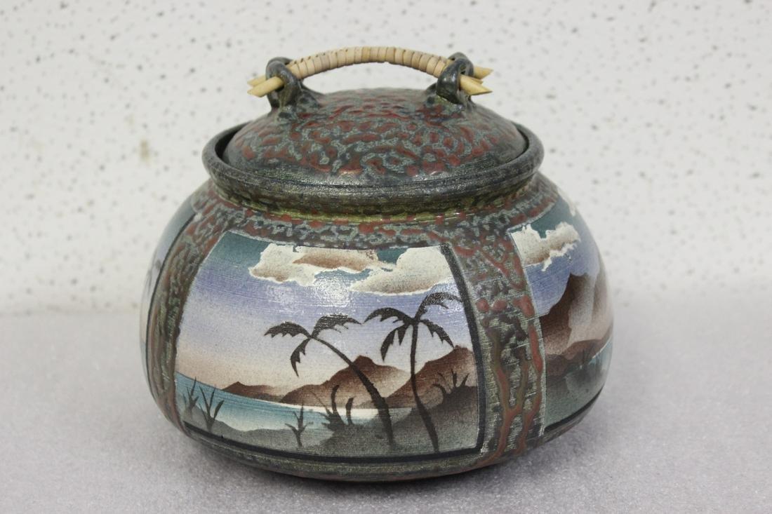 A Signed Ken Jensen Raku Pottery Pot