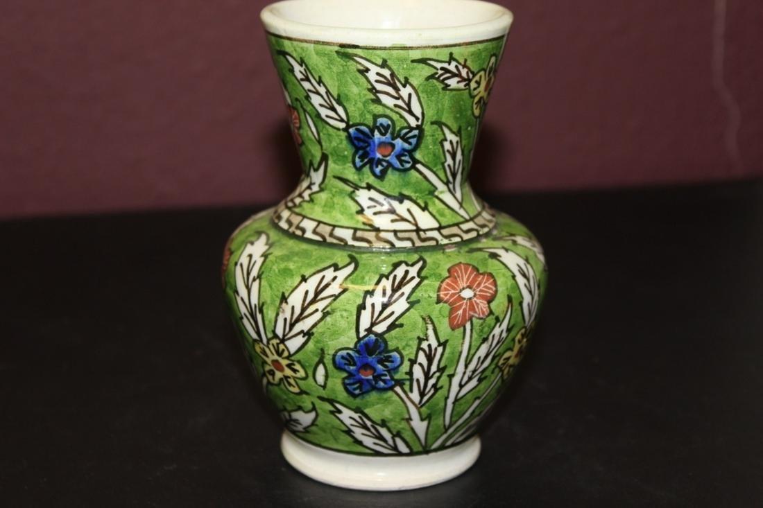 A Vintage Ceramic Floral Green Vase