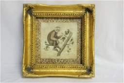 A Decorative Gold Framed Monkey Print