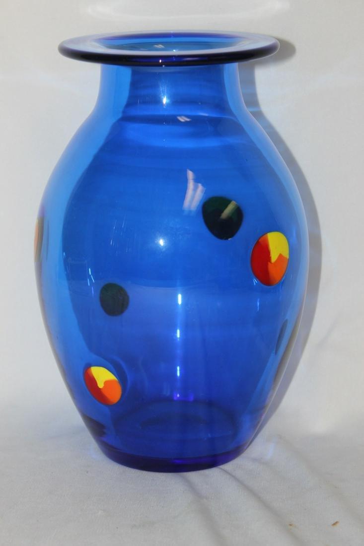 A Signed Orrefors Blue Art Glass Vase