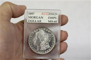 A Graded 1897 DMPL Morgan Silver Dollar