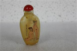 A Chinese Glass nude Snuff Bottle