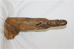 A Chinese Root Wood Carved Kwan Yin