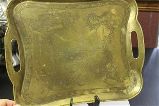 A Chinese Dragon Brass Tray