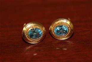 Pair of 14 Karat Gold nad Topaz Earrings