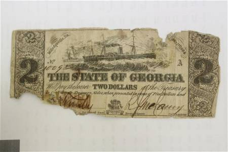 The State of Gerogia $2.00 Note - 1864