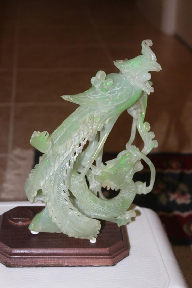 Vintage Serpentine Phoenix Statue