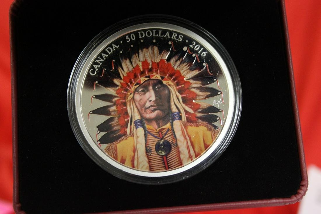 A Colorized Five Ounce Pure Silver Canada Coin