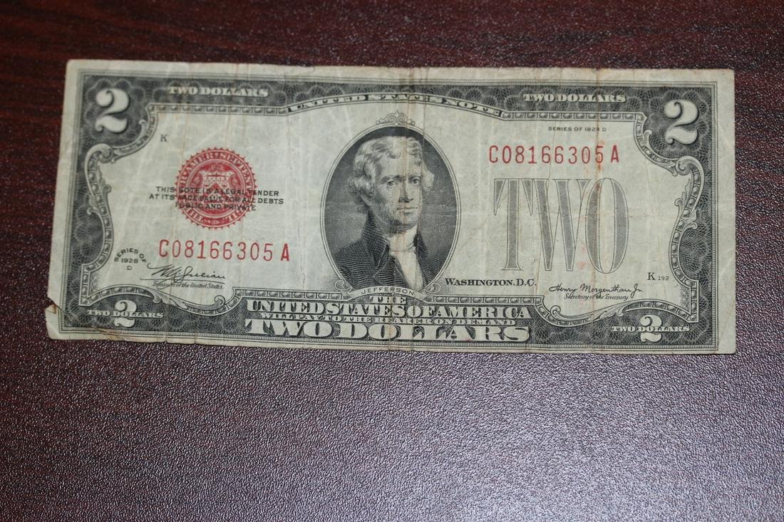 A 1928 $2.00 Red Seal Note