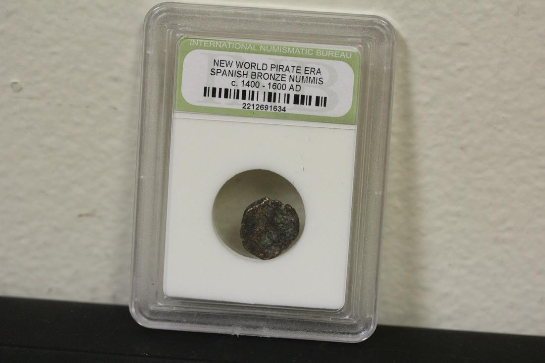 A Slabbed Spanish Bronze Nummis Coin