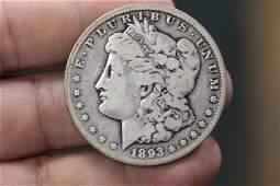A Very Rare 1893CC Morgan Silver Dollar