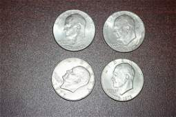Lot of 4 Clad Ike Dollars