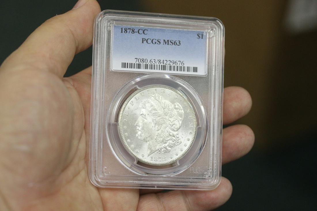 A Rare Graded 1878-CC Morgan Silver Dollar
