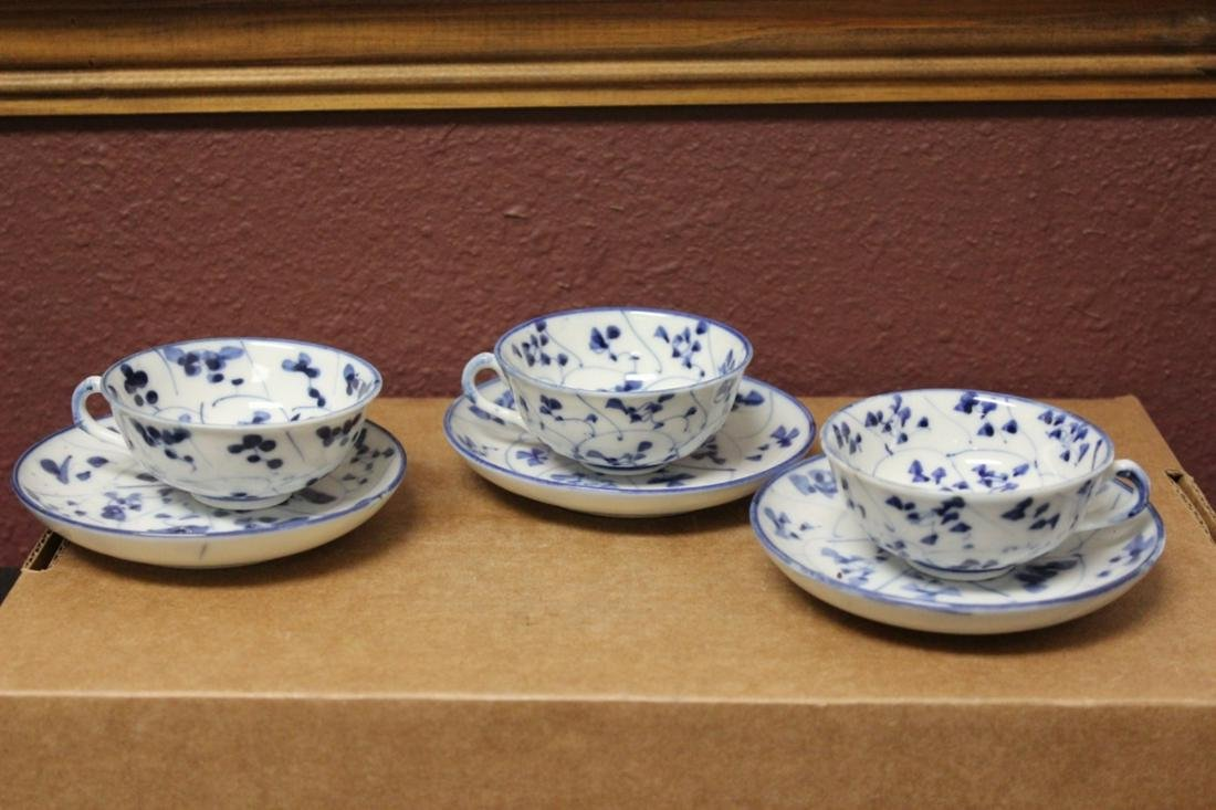 Set of 3 Blue and White Cup and Saucer