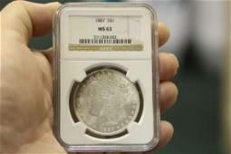 An NGC Graded 1887 Morgan Silver Dollar