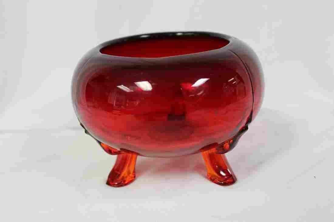 A 3-Legged Ruby Red Glass Bowl