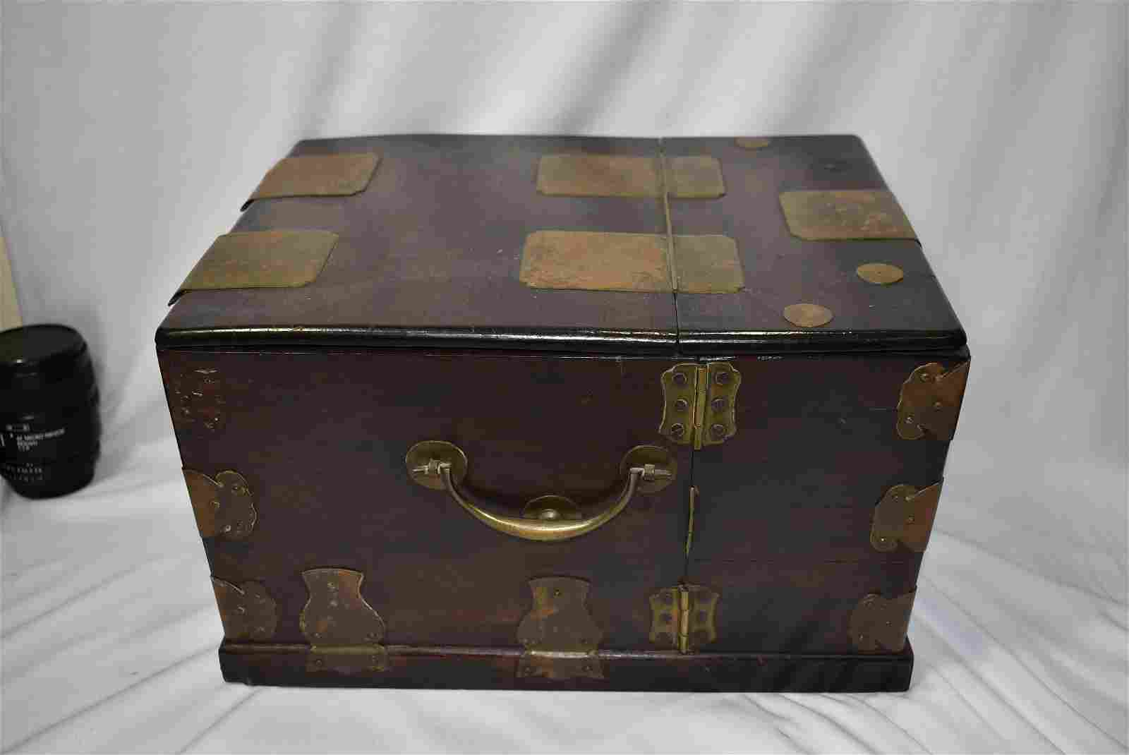 Antique Chinese Rosewood Jewelry Makeup Box with Mirror