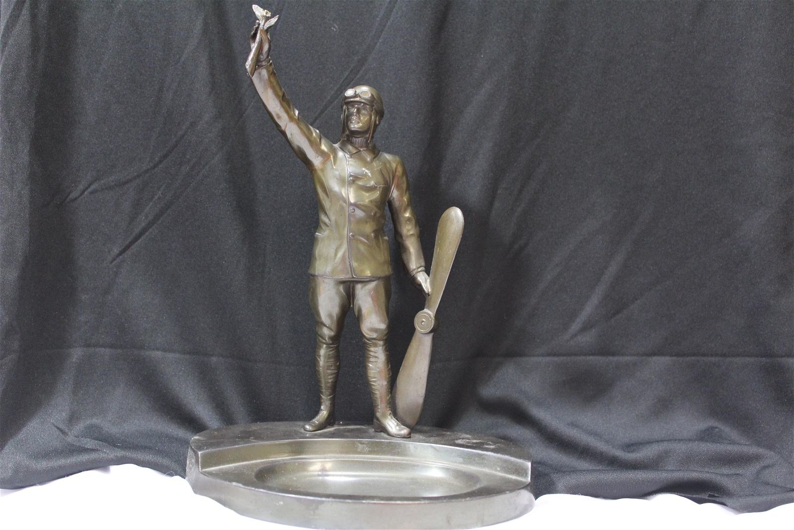 A Bronze or Metal Aviator Ashtray