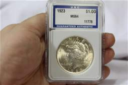 A Graded 1923 Peace Silver Dollar