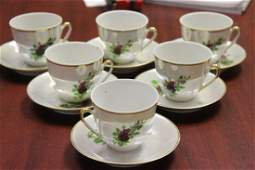Set of Six Cup and Saucers