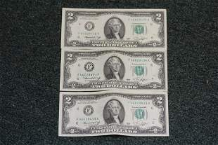 Lot of 3 Consecutive Number $2.00 Notes
