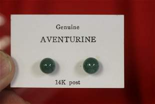 A 14Kt Gold and Aventurine Posted Earrings