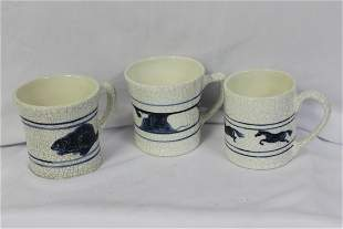 Lot of 3 Blue and White Cups