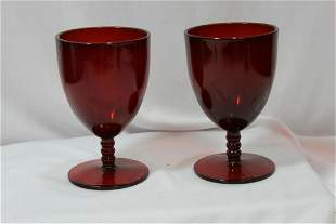 A Pair of Ruby Red Glass Goblets