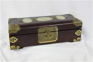 Chinese Jewelry Box with Jade Insert