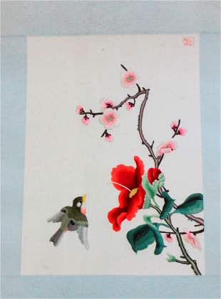 Chinese / Asian Silk Embroidery on Paper