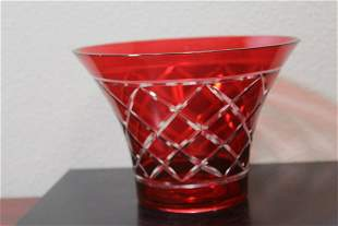 A Ruby Red Cut Glass Bowl