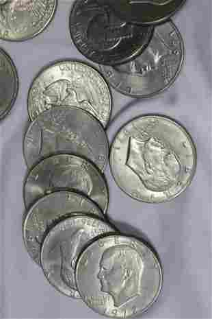A Roll of 20 Clad Ike Dollars