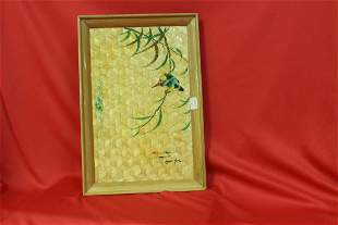 A Handpainted Chinese Bamboo Tray