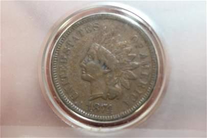 An 1874 Indian Head Cent