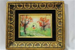 A Framed Painting on Copper