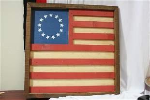 A Wooden Flag Wall Hanger