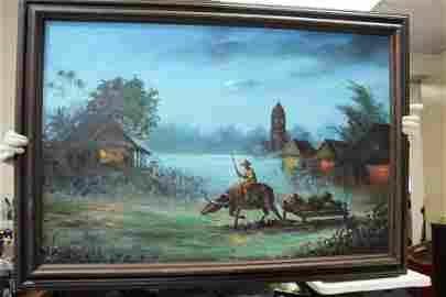 Oil on Canvas of Oriental Scene
