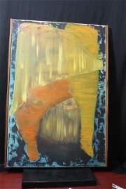 Mid Century, Probably 1960's Psychadelic Oil on a