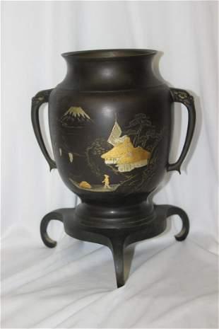A Japanese Mix Metal Bronze Urn