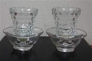 A Pair of Glass Candlesticks