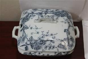 An Antique Flow Blue Center Bowl